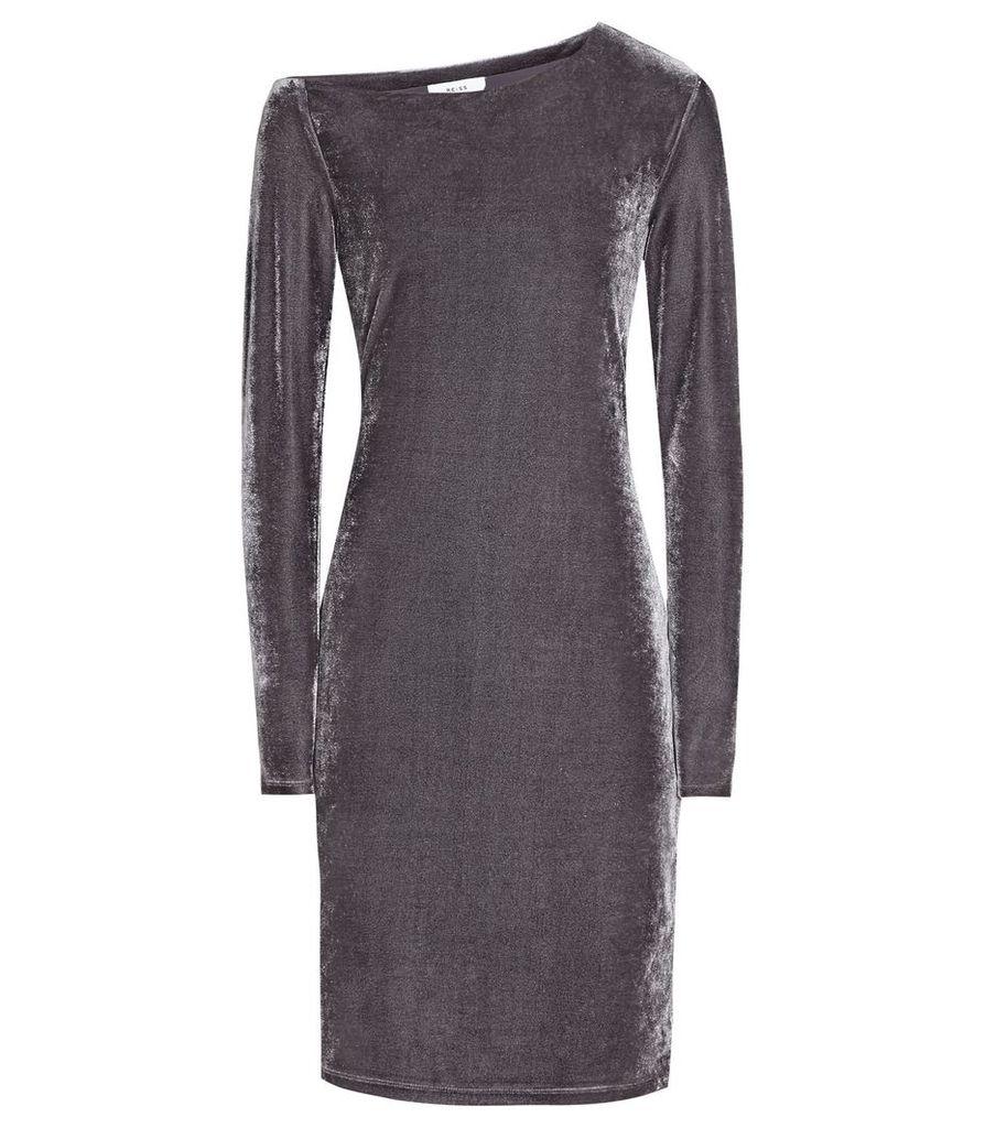 Reiss Xeni - Velvet Dress in Grey, Womens, Size 4