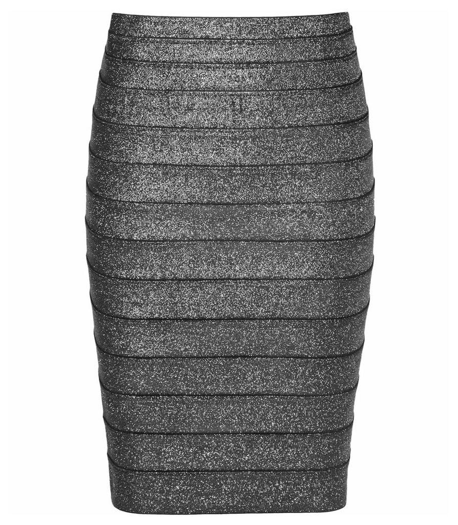 Reiss Henna - Metallic Stretch Pencil Skirt in Silver Metallic, Womens, Size 4