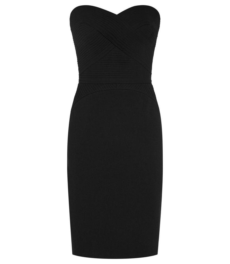 Reiss Sabbia - Strapless Plisse-detail Dress in Black, Womens, Size 4