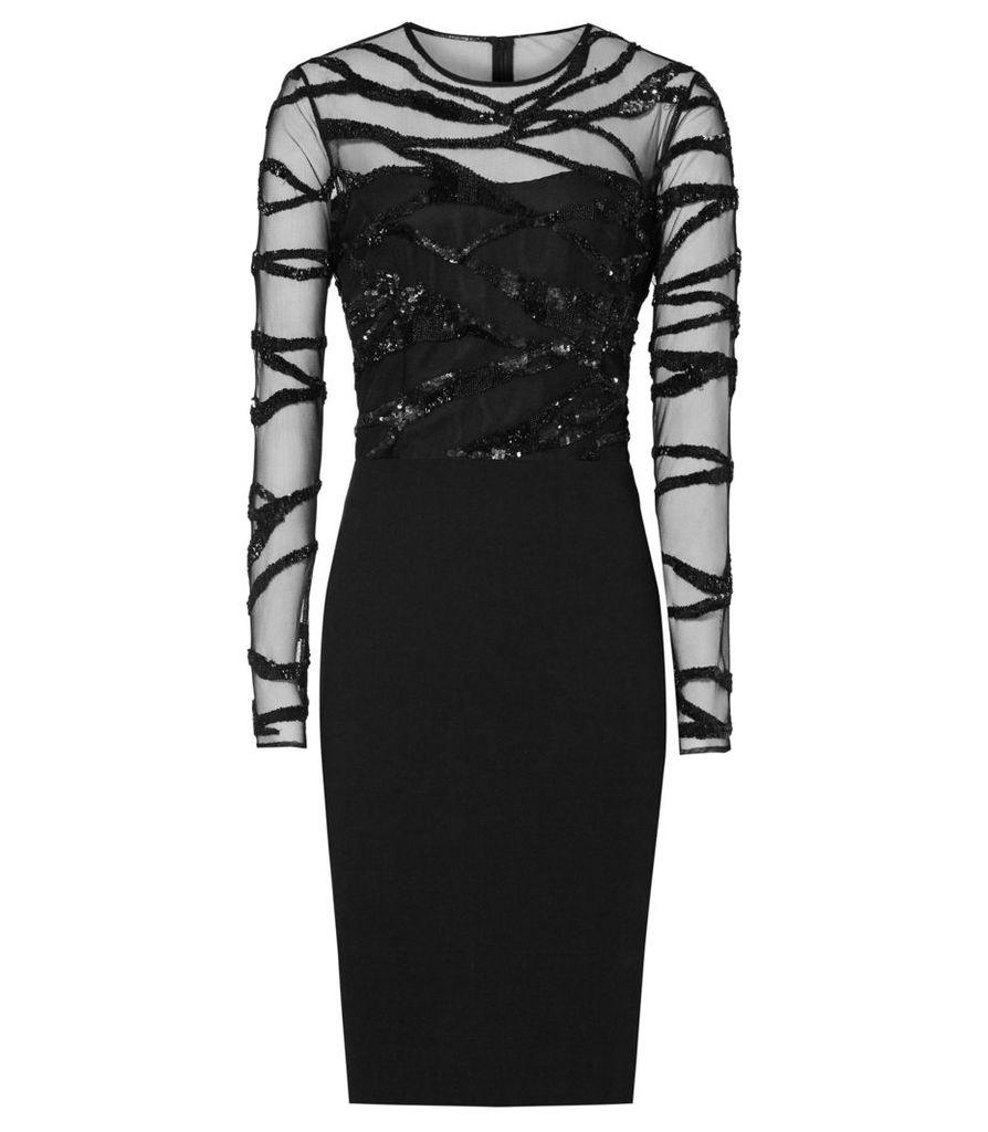 Reiss Rosalin - Embellished Bodycon Dress in Black, Womens, Size 4