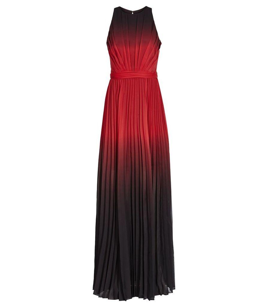Reiss Hawk - Ombre Pleated Maxi Dress in Red/Garnet, Womens, Size 4