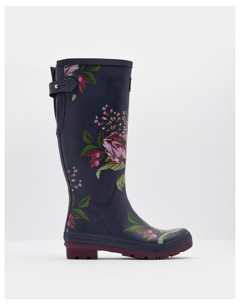 French Navy Artichoke Floral Ajusta Adjustable Back Gusset Printed Wellies  Size Adult 5 | Joules UK