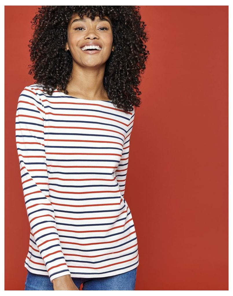 Creme Red Navy Stripe Harbour Jersey Top  Size 6 | Joules UK
