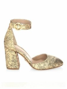 Rena Shimmery Ankle Strap Pumps