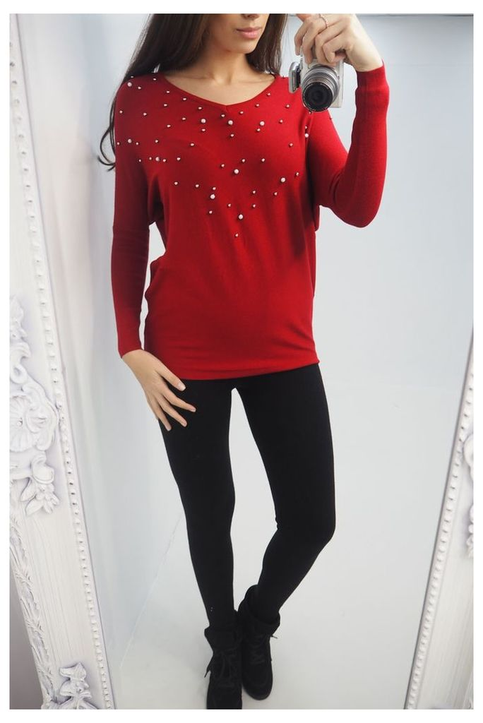 Marney Pearl V-neck Knitted Jumper