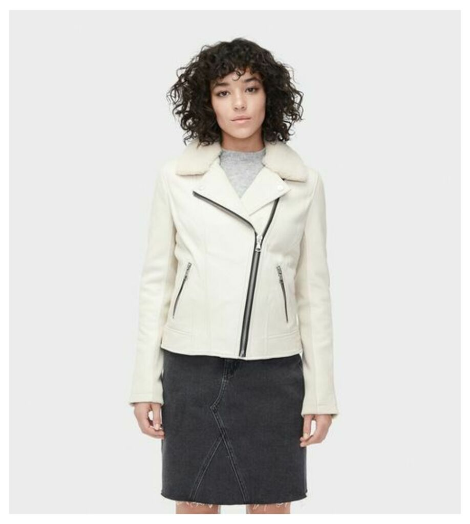 UGG Leather Cycle Jacket Womens Outerwear Stone XS