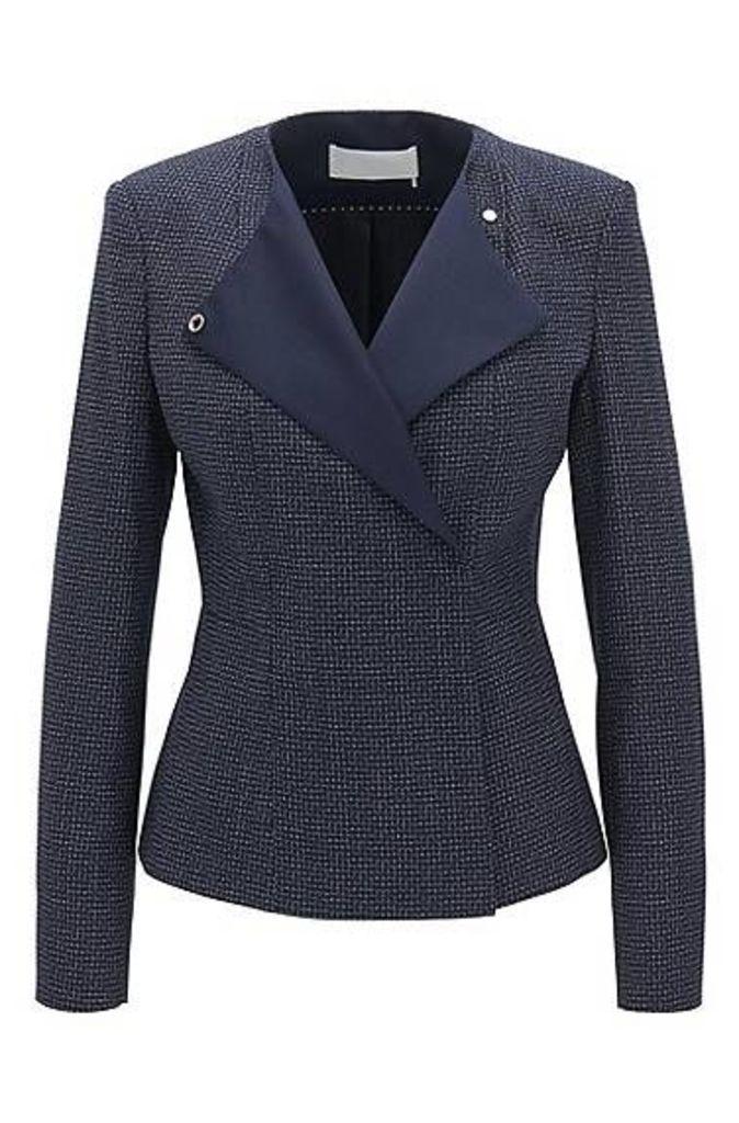 Regular-fit collarless jacket in checked virgin wool