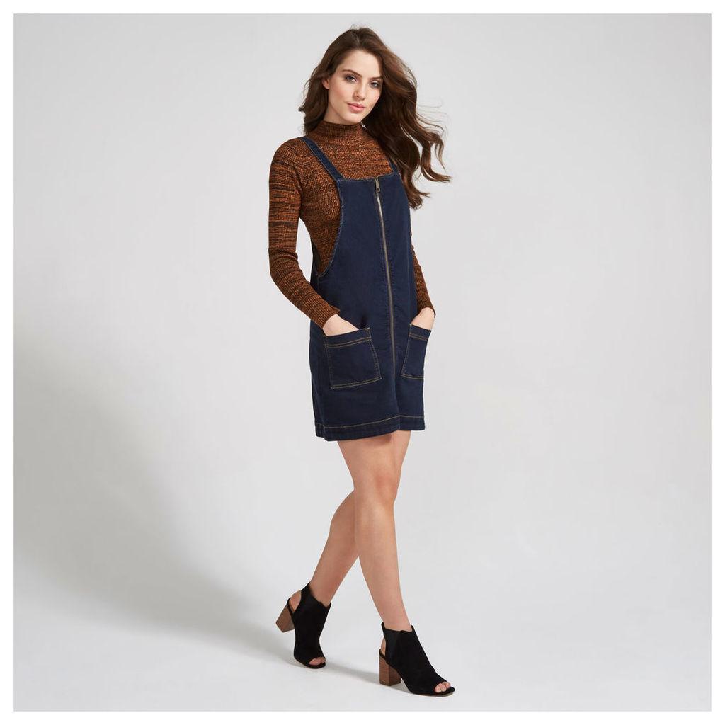 Indigo Denim Look Zip Up Pinafore Shift Dress