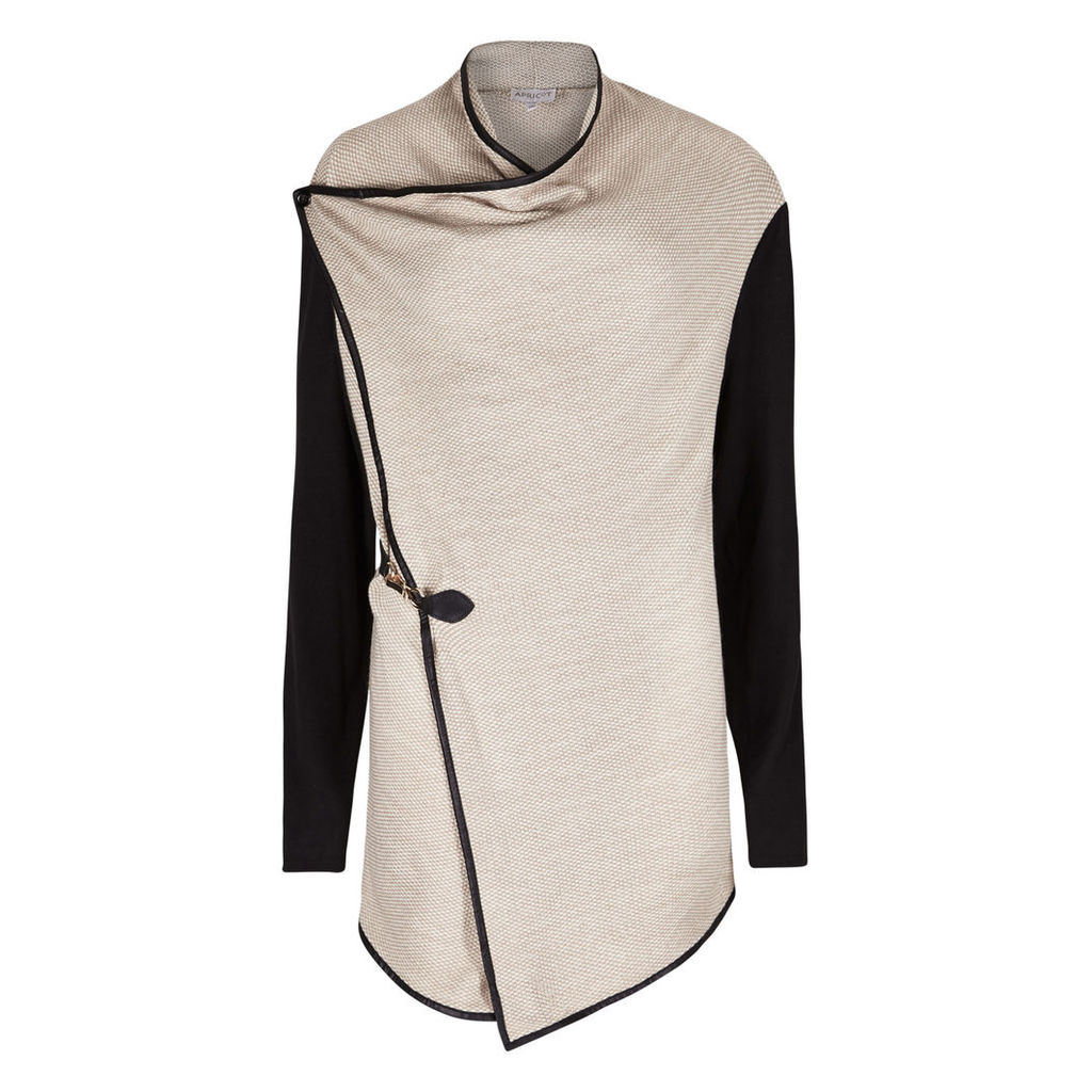 Cream & Black Linen Look  Jacket