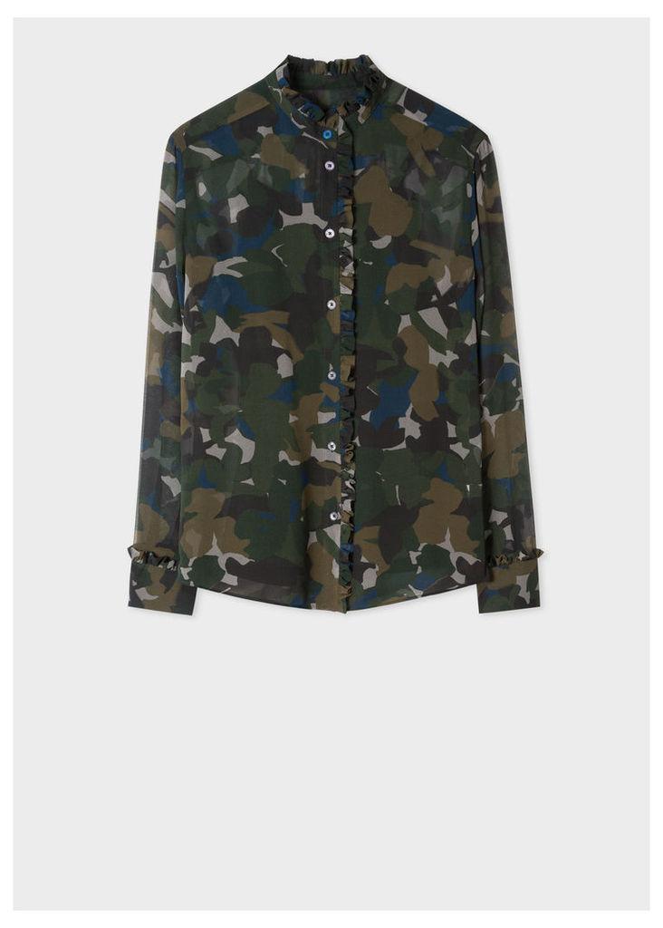 Women's Dark Navy Camouflage Print Shirt