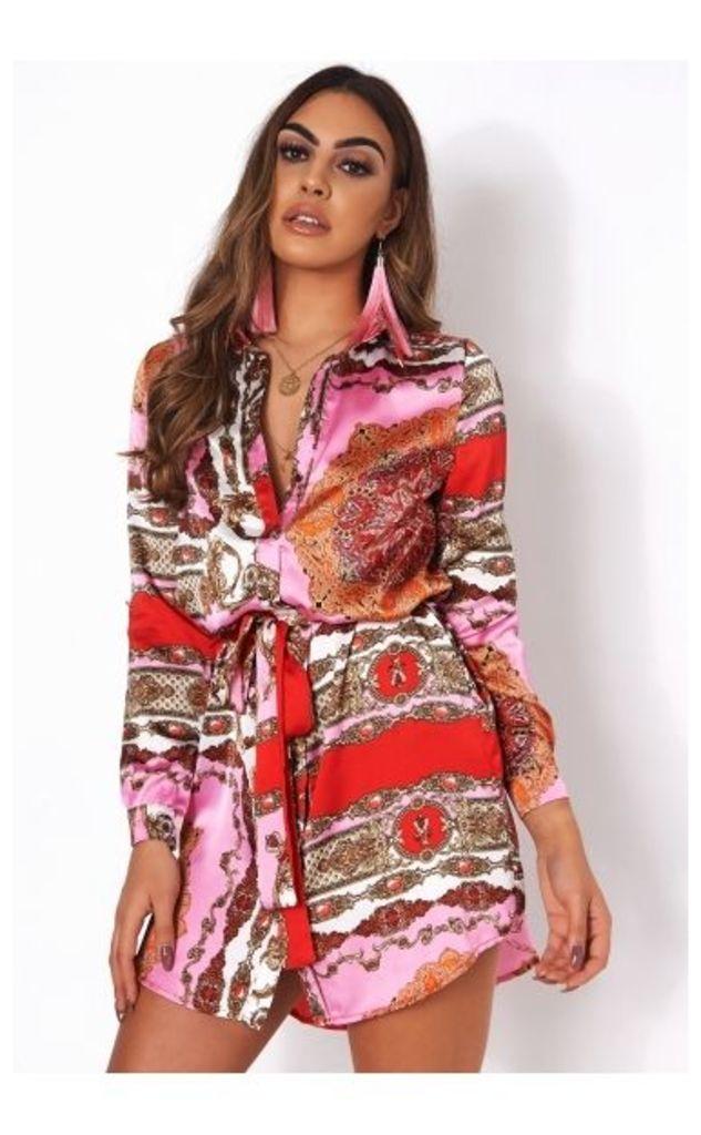 Kiga Pink Scarf Print Satin Shirt Dress
