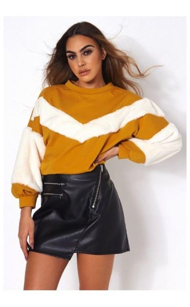 Mustard Faux Fur Sweatshirt