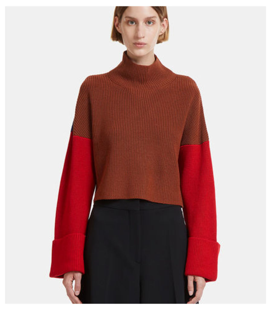 Cropped Colour-Blocked Knit Sweater