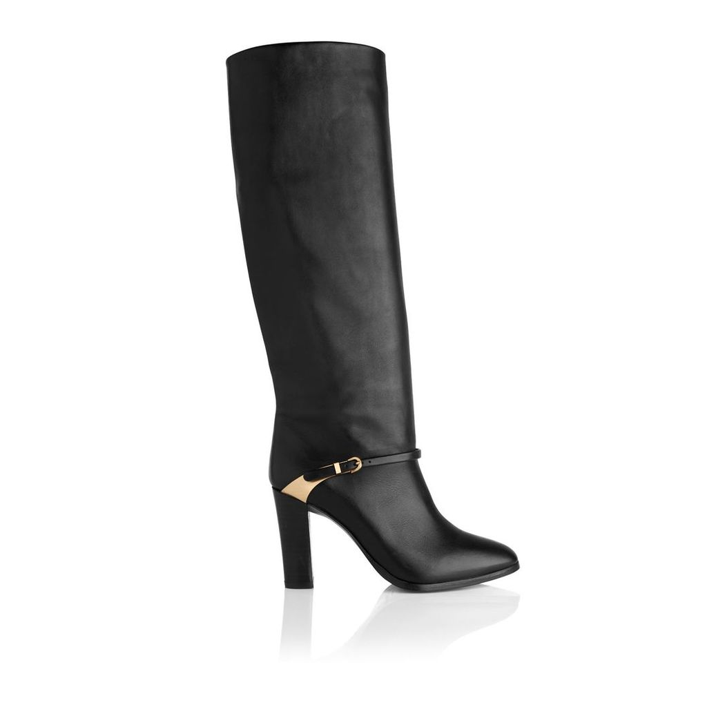 Harlie Black Leather Knee Boots