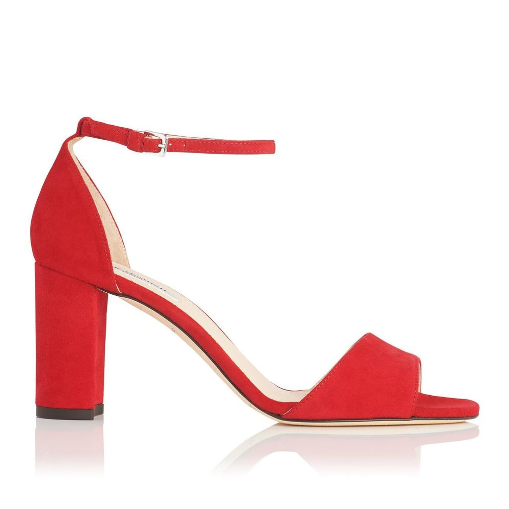Helena Red Suede Formal Sandals