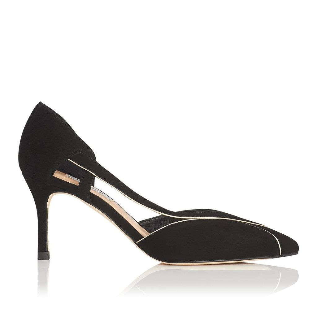 Loretta Black Gold Suede Open Courts