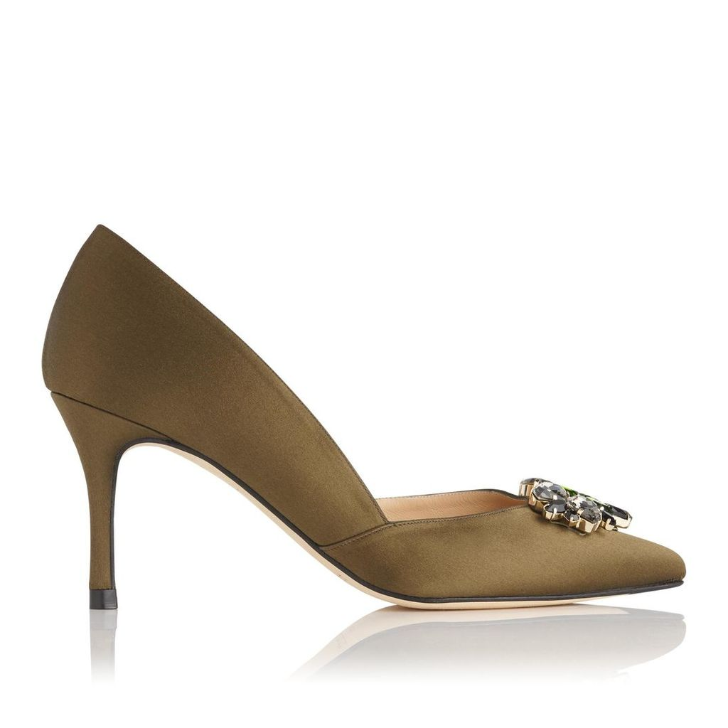 Cristina Khaki Satin Closed Courts