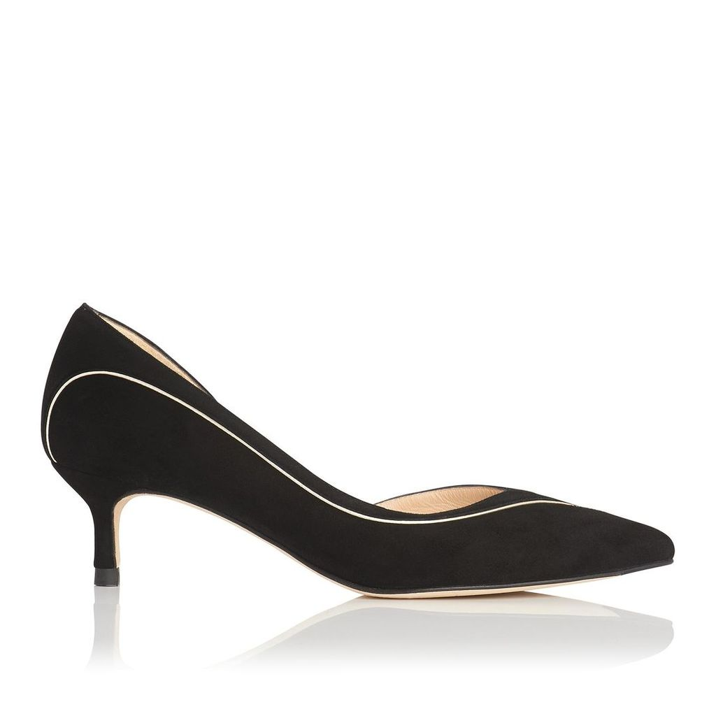 Layla Black Gold Suede Open Courts