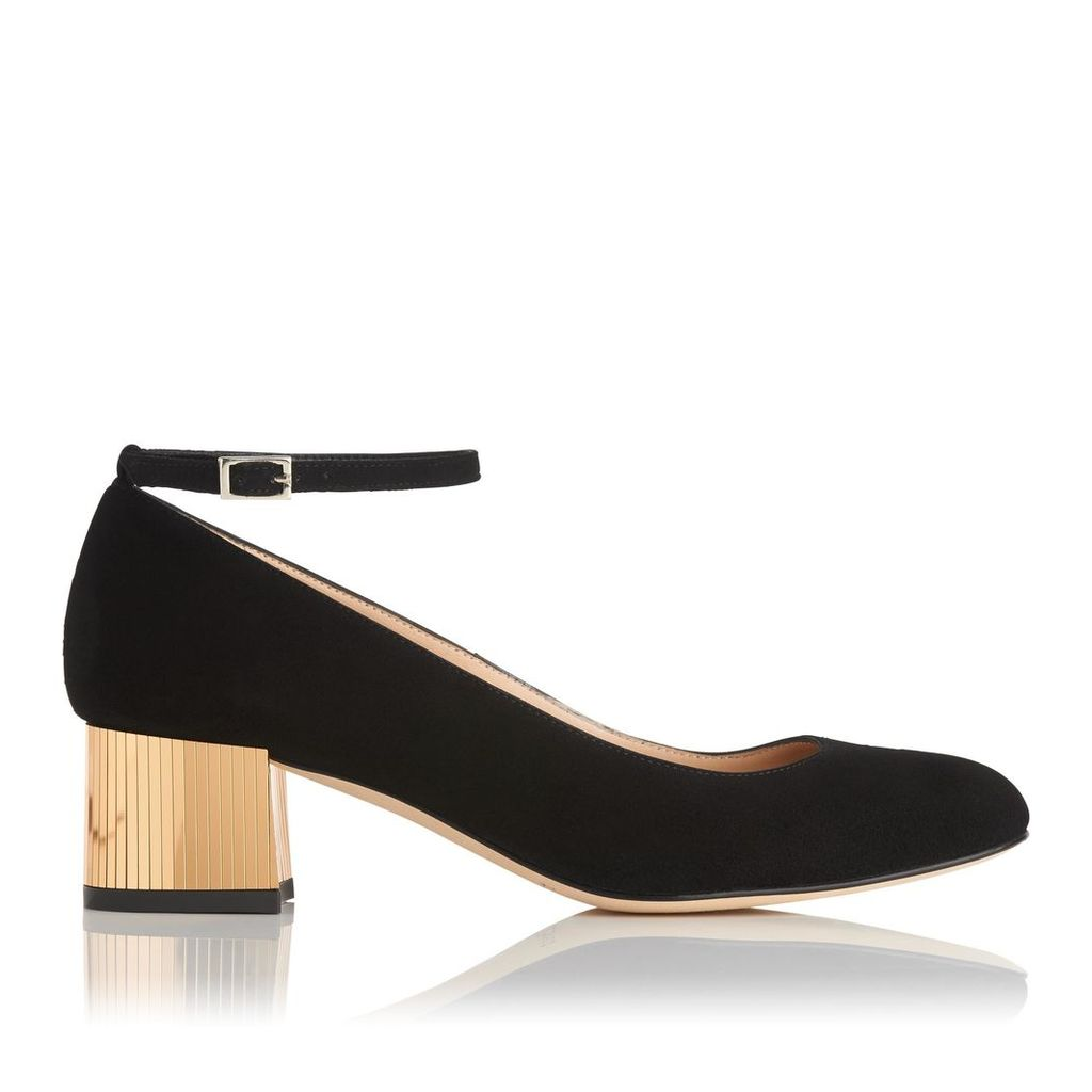 Alba Black Gold Suede Closed Courts