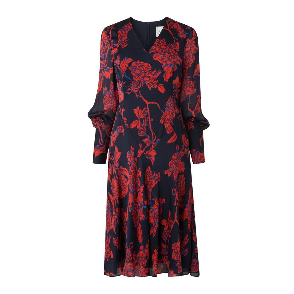 Mina Petite Rose Print Silk Dress
