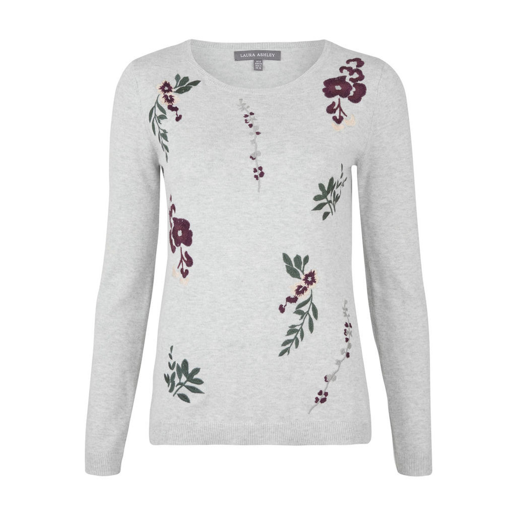 Grey Crew Neck Embroidered Jumper