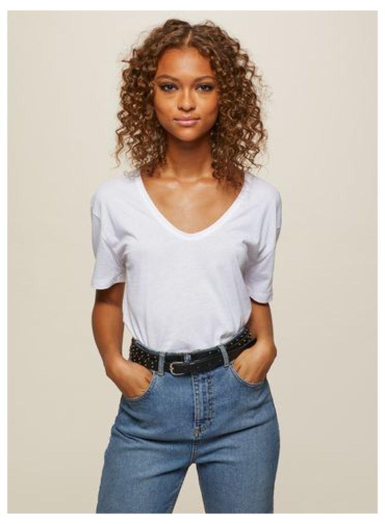 Womens White Longline Scoop Neck T-Shirt, White