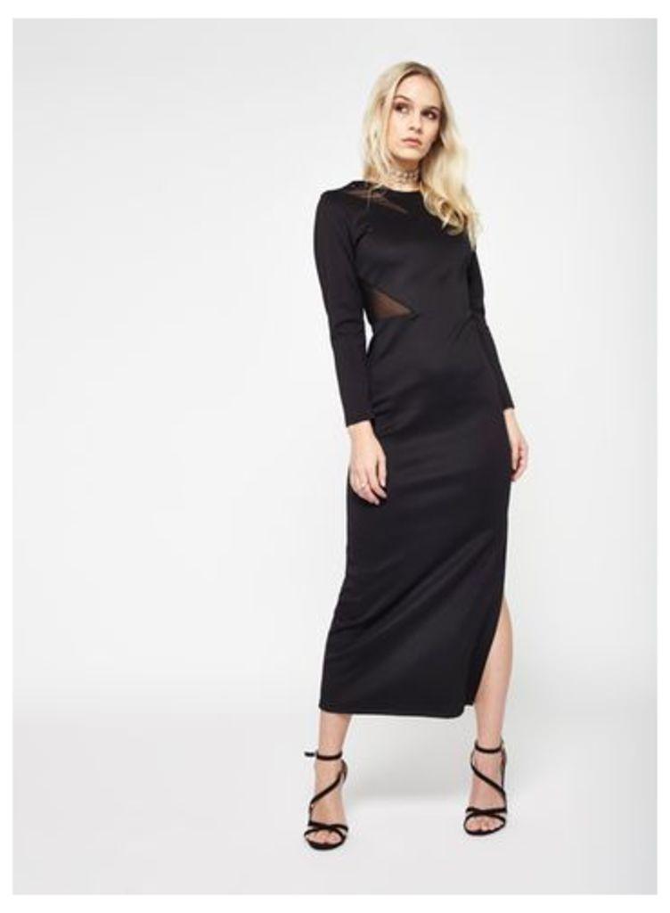Womens PETITE Mesh Maxi Dress, Black