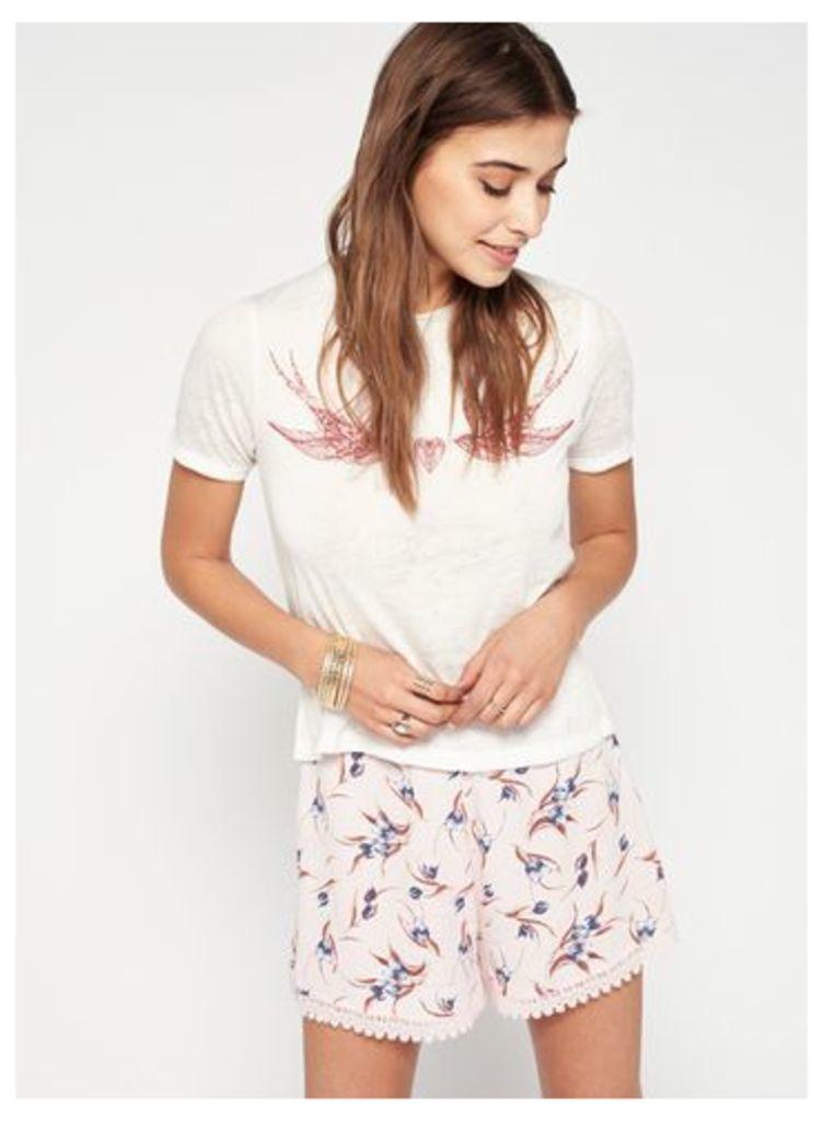 Womens Pink Print Crochet Hem Shorts, Pink