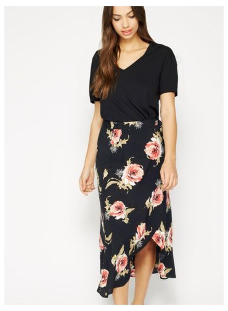 Womens Black Floral Wrap Midi Skirt, Black