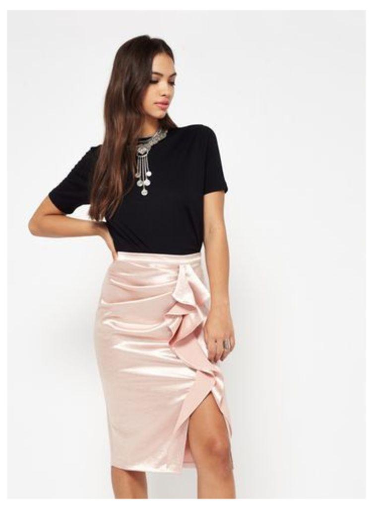 Womens Gold Ruffle Skirt, Gold Colour