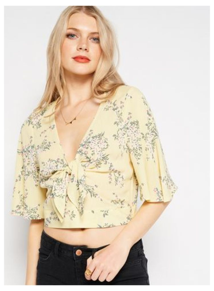 Womens Yellow Floral Ruffle Crop Top, Assorted