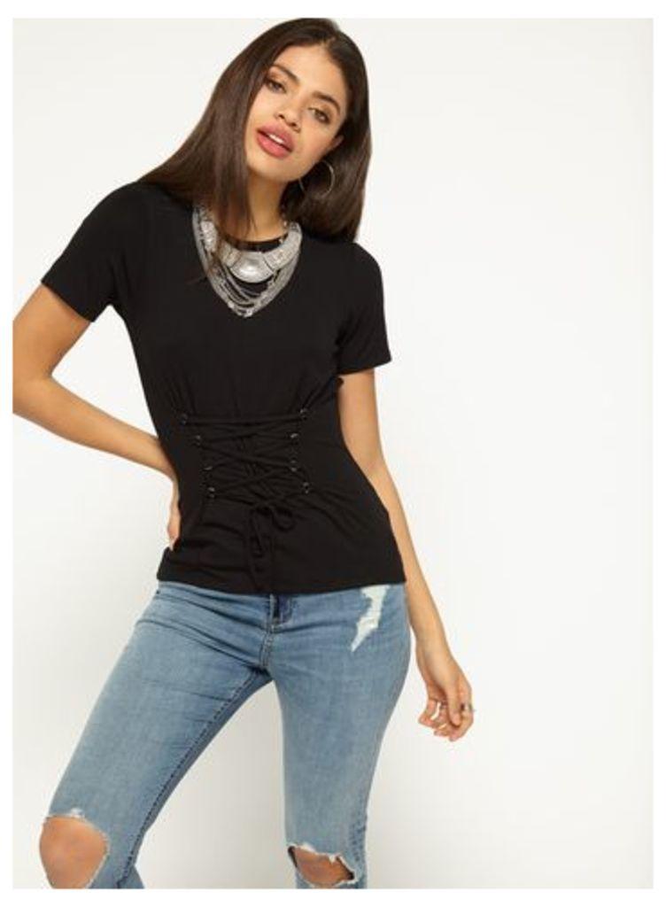 Womens Black D-Ring Corset T-Shirt, Black