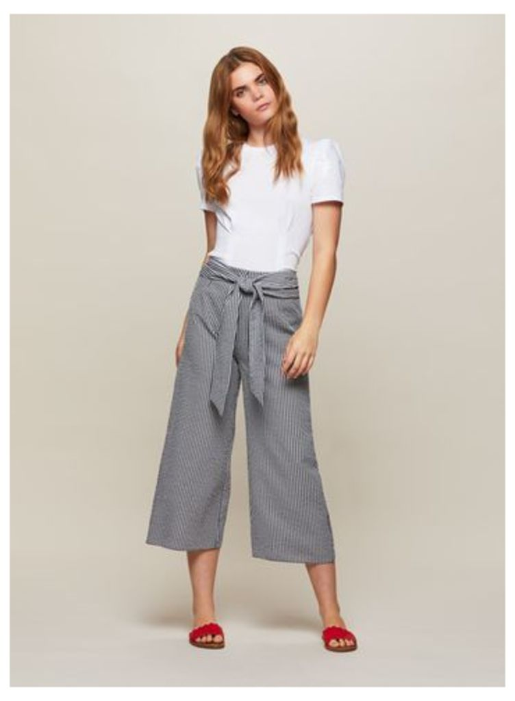 Womens Gingham Crop Wide Leg Trousers, Assorted