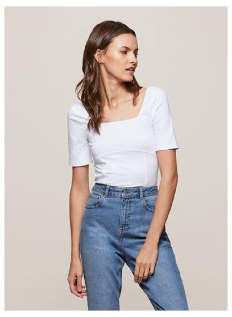 Womens White Corset Seam Top, White