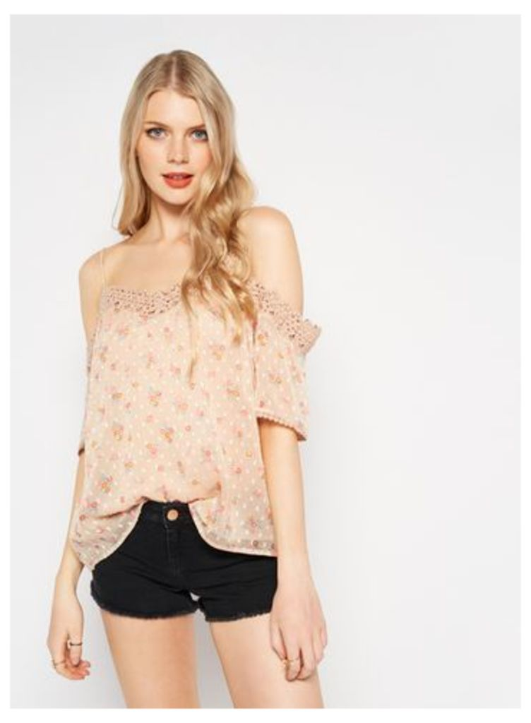 Womens Nude Printed Cold Shoulder Top, Assorted