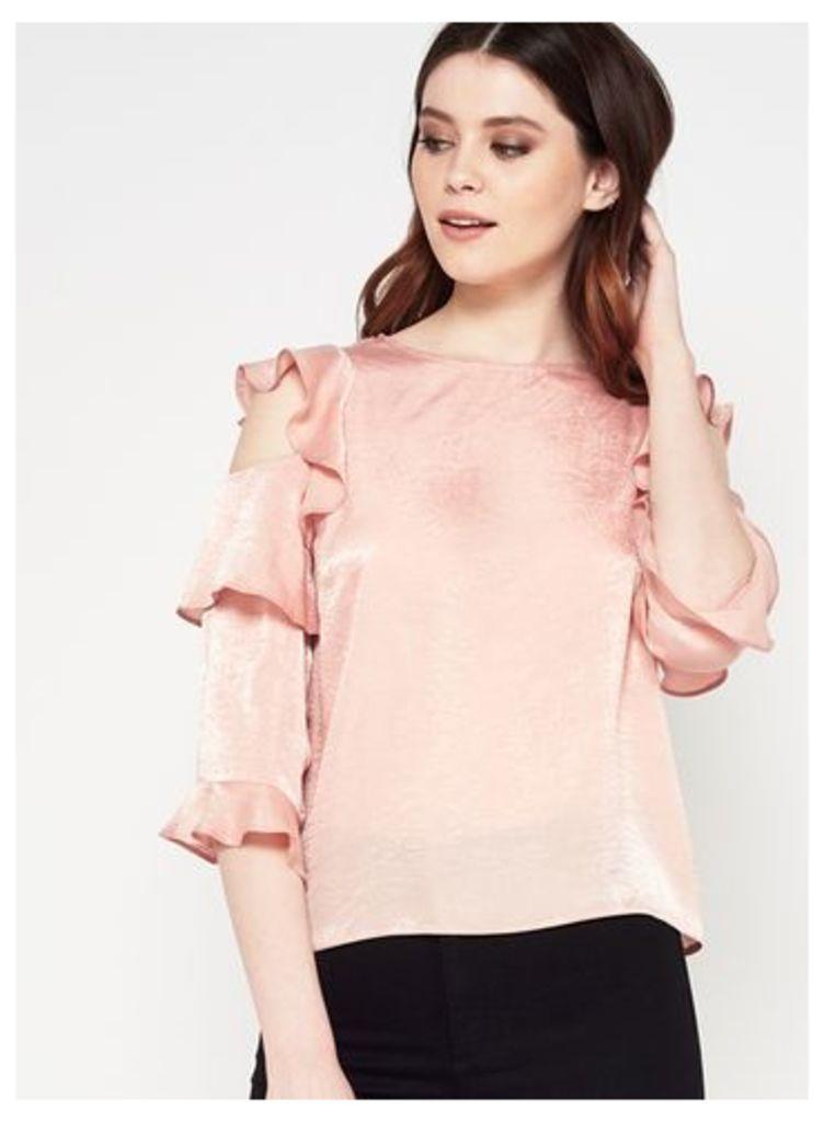 Womens Pink Ruffle Shoulder Top, Pink