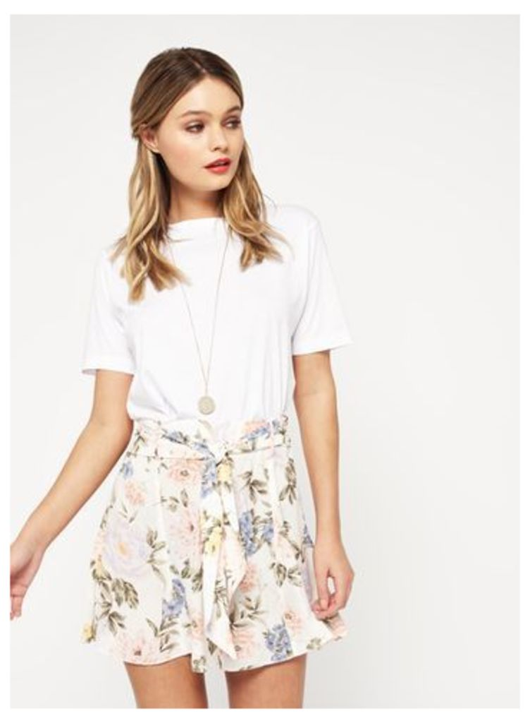 Womens Cream Floral Flippy Shorts, Cream