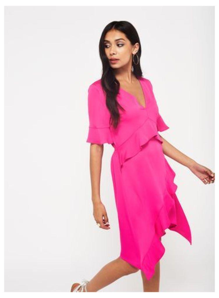 Womens Hot Pink Frill Dress, Pink