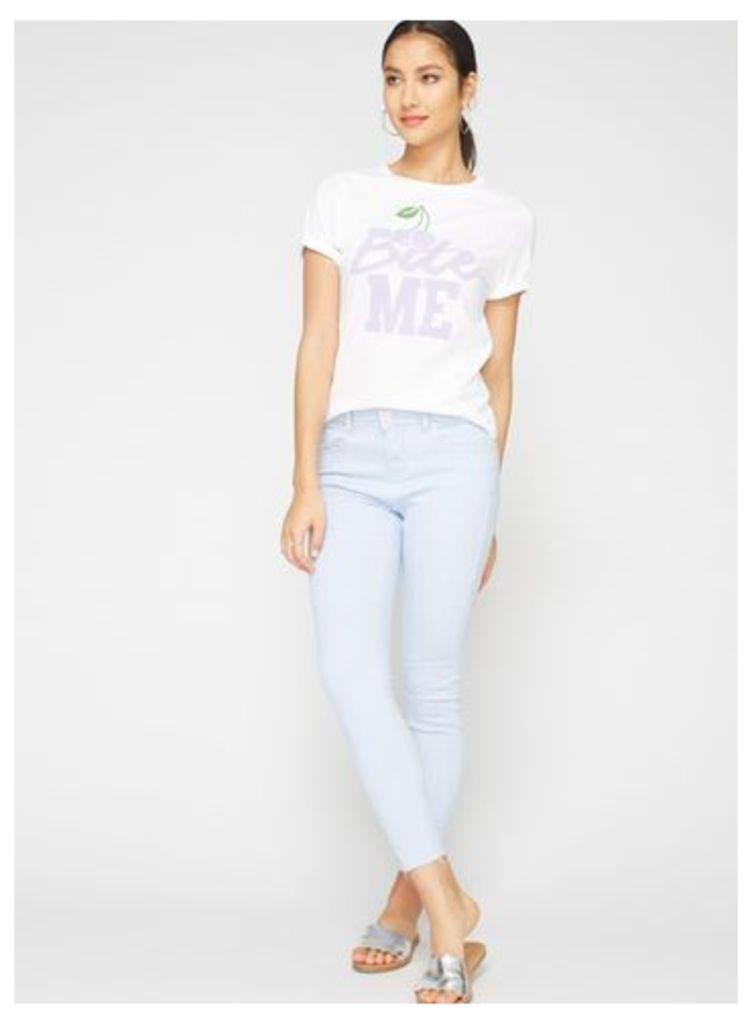 Womens Ticking Stripe Skinny Fit Jeans, Blue