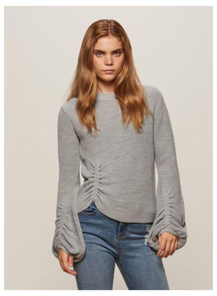 Womens Grey Balloon Sleeve Knitted Jumper, Grey