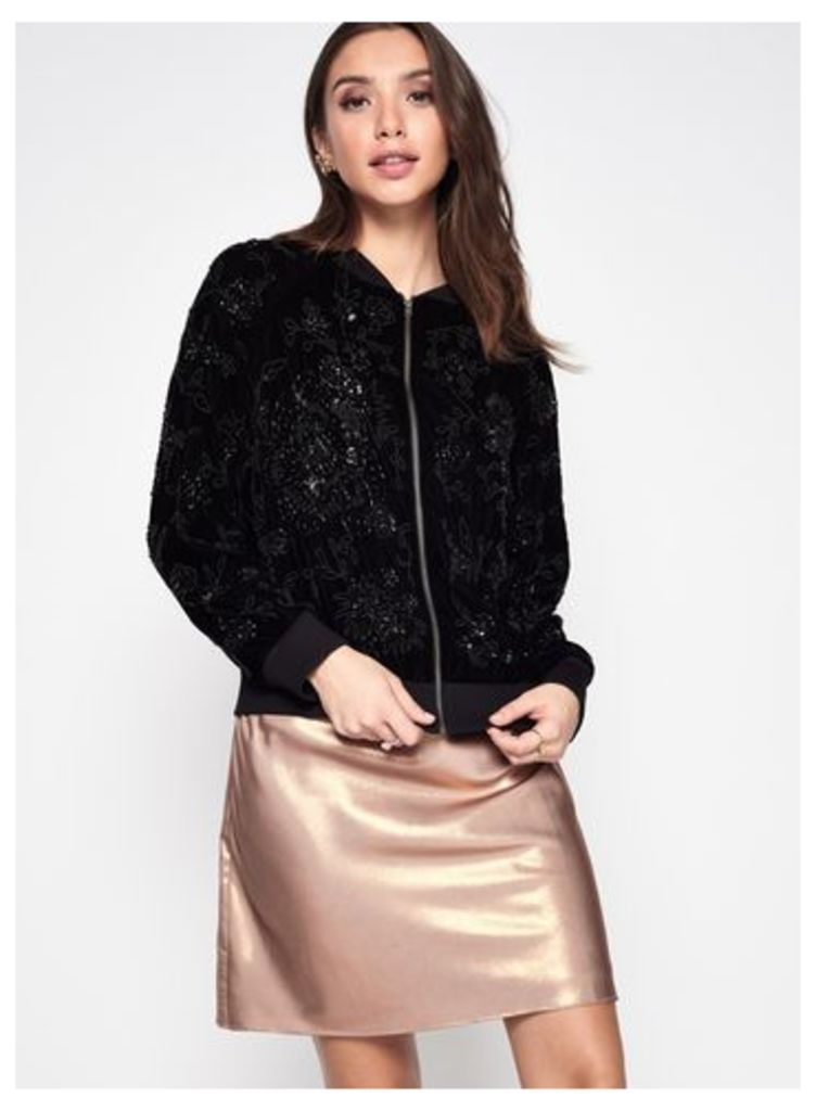Womens PREMIUM Velvet Embellished Bomber Jacket, Black