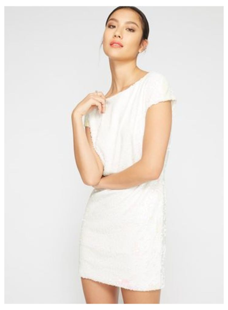 Womens Sequin Tea Dress, White