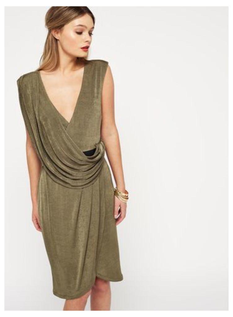 Womens Khaki Belted Drape Shift Dress, Khaki