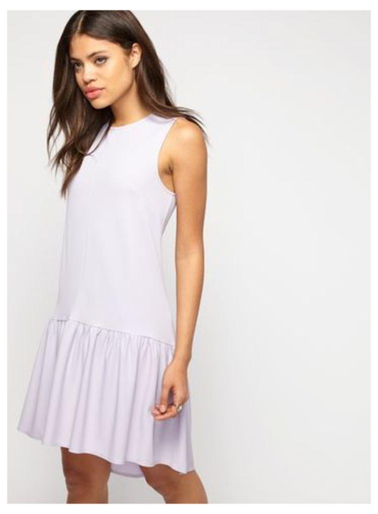 Womens Purple Frill Hem Dress, Lilac