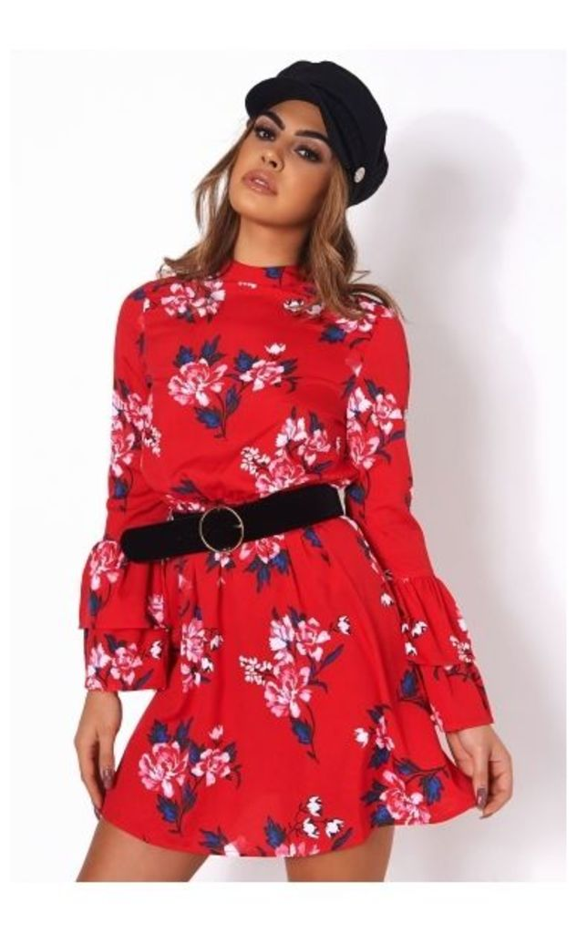Dayna Red Floral Shift Dress