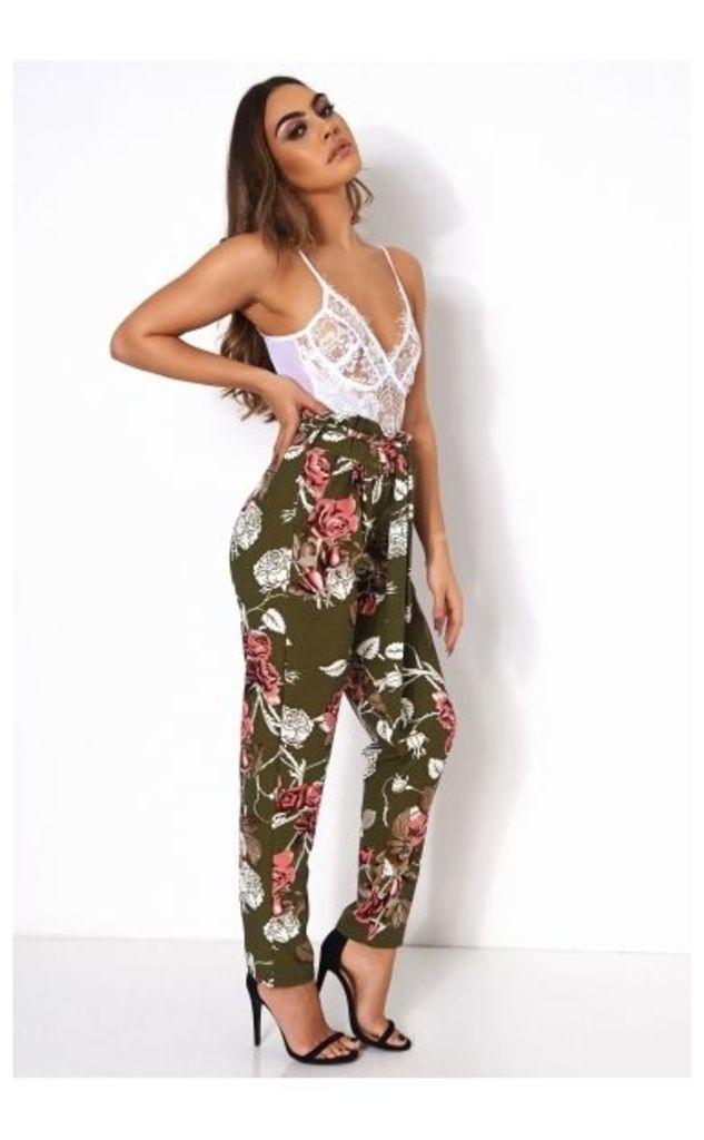 Floral Tie Waist Trousers