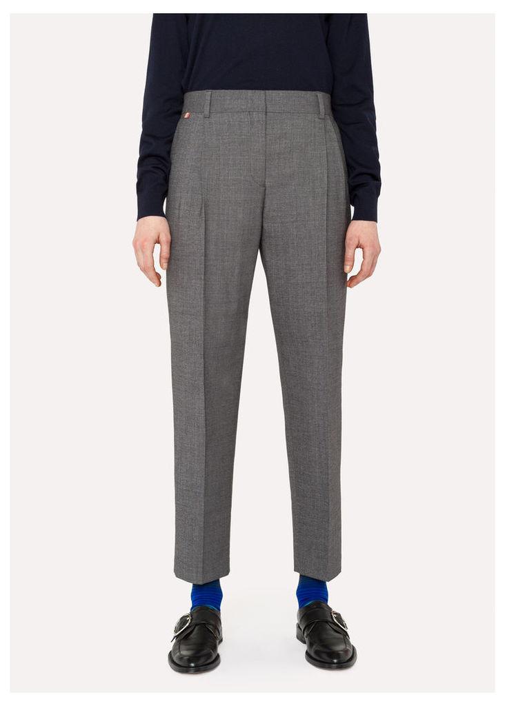 Women's Grey Wool-Cotton Double-Pleat Trousers