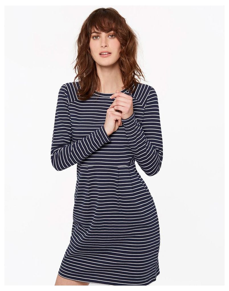French Navy Stripe Daylia Textured Jersey Dress  Size 16 | Joules UK