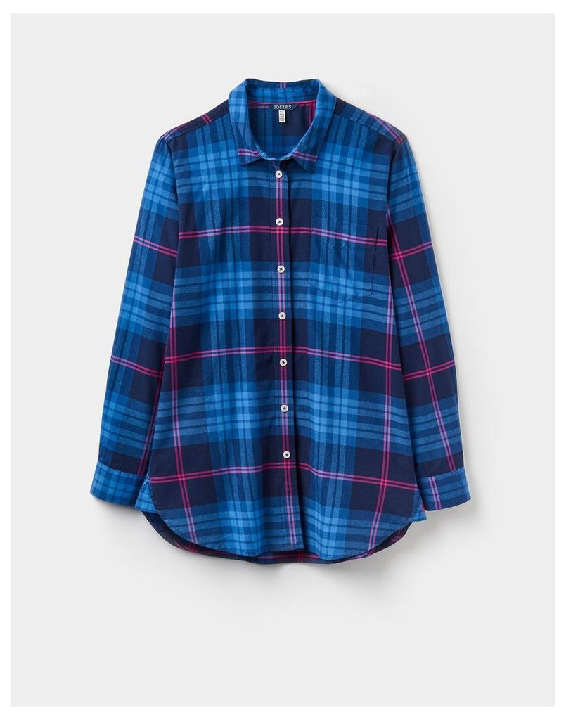 Blue Pink Check 124358 Womens Laurel long line shirt  Size 10 | Joules UK