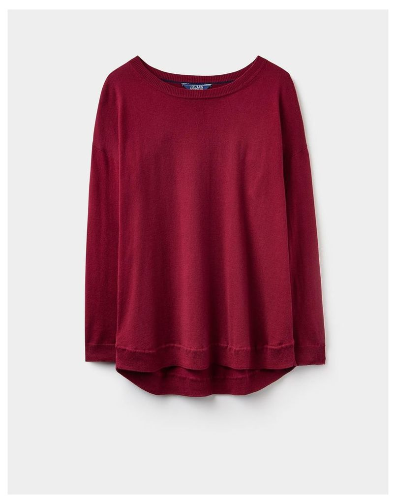 Maroon 124355 Womens Frankie curved hem jumper  Size 10 | Joules UK